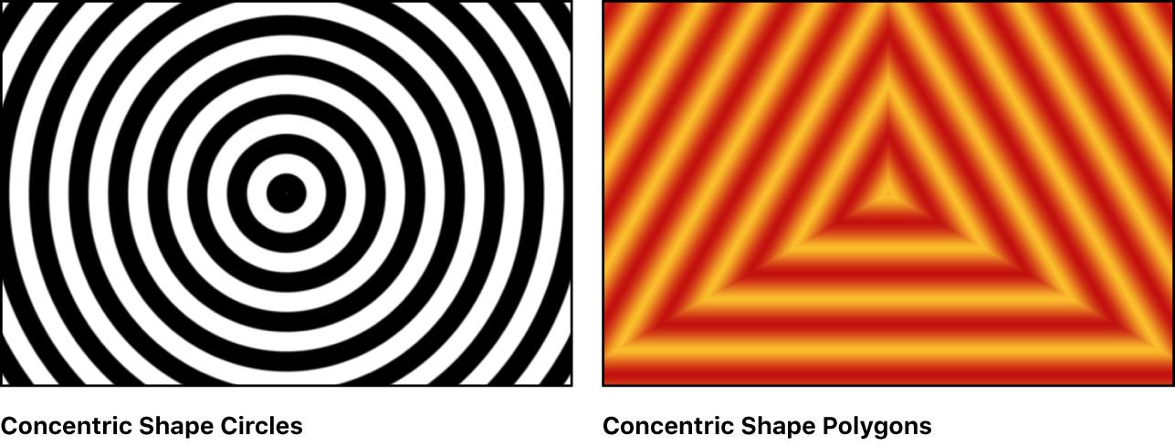 """Canvas mit Beispielen für den Generator """"Konzentrische Formen"""""""