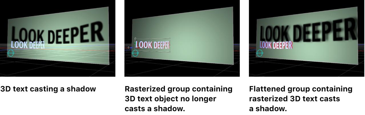 Canvas-Fenster mit den Auswirkungen der Rasterung auf Schatten