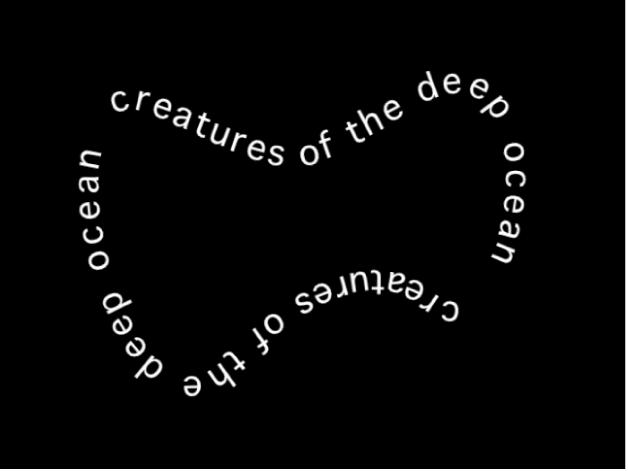 Canvas mit in fliegenförmiger Form angeordnetem Text