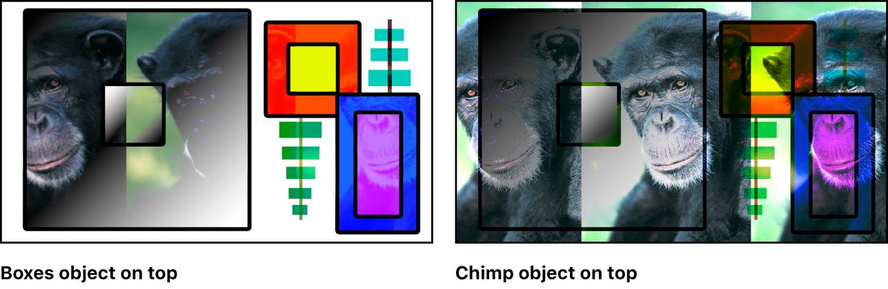 """Canvas mit Kombination aus Farbfeldern und dem Affen unter Verwendung der Füllmethode """"Punktuelles Licht"""""""