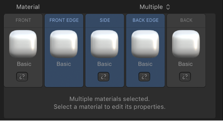 """3D-Textinformationsfenster mit der Option """"Material"""", die auf """"Mehrfach"""" eingestellt ist, und Steuerelementen zum Verknüpfen"""
