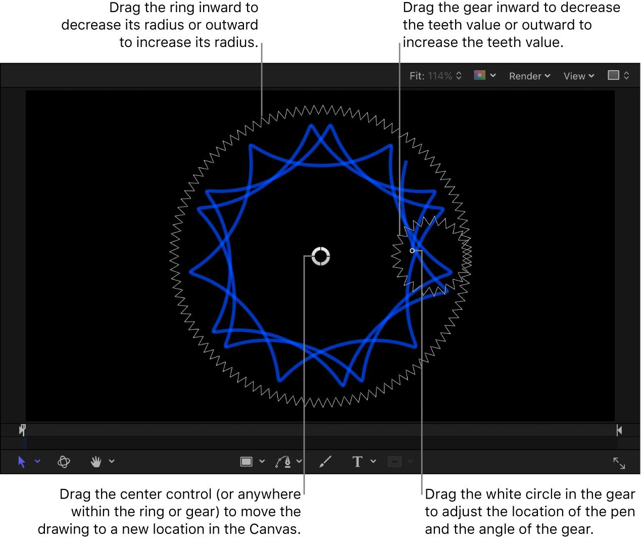 Canvas mit den Onscreen-Steuerelementen für die Spiralzeichnung