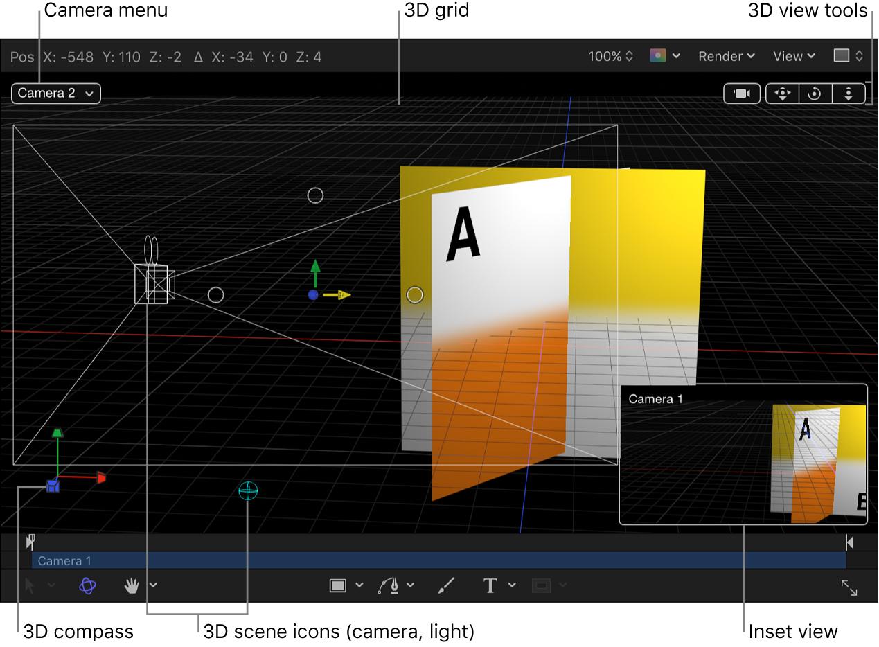 """Canvas mit 3D-Steuerelementen: Einblendmenü """"Kamera"""", Werkzeuge für die 3D-Darstellung, 3D-Szenensymbole, 3D-Gitter, 3D-Kompass und Inset-Darstellung"""