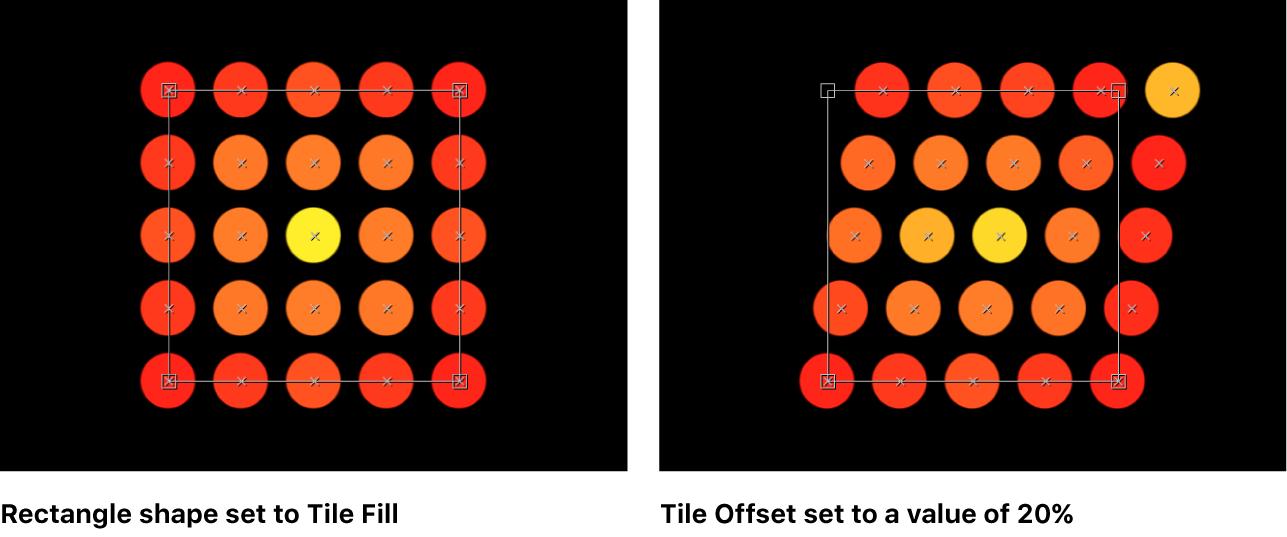 """Canvas-Fenster, das einen Replikator mit auf """"Kachelfüllung"""" bzw. """"Kachelversatz"""" mit 20 % eingestellten Parameter """"Anordnung"""" zeigt"""