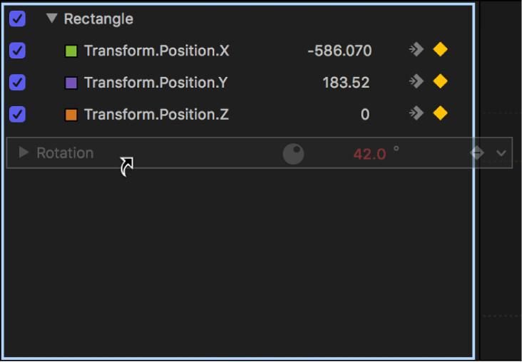 Parameter, der aus dem Informationsfenster in die Parameterliste im Keyframe-Editor bewegt wird