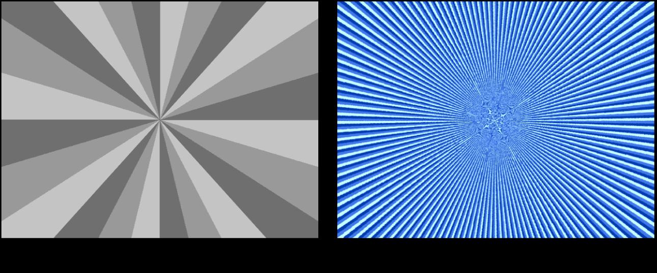 """Canvas mit dem Generator """"Einfarbiger Strahl"""" und verschiedenen Einstellungen"""
