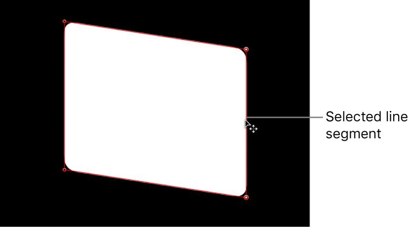 Canvas mit einem Liniensegment, das angepasst wird
