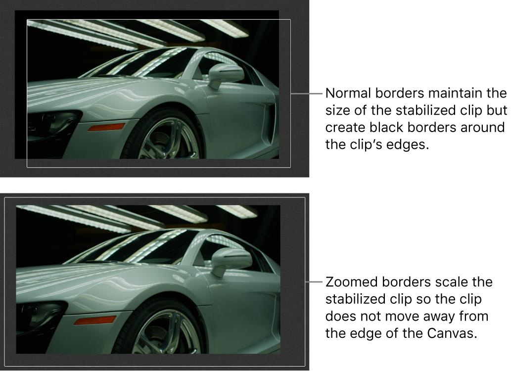 """Canvas mit dem auf einen Clip angewendeten Verhalten """"Stabilisieren"""" und der auf """"Normal"""" eingestellten Option """"Rahmen"""" und mit einem auf einen Clip angewendeten Verhalten """"Stabilisieren"""" und der auf """"Zoom"""" eingestellten Option """"Rahmen"""""""