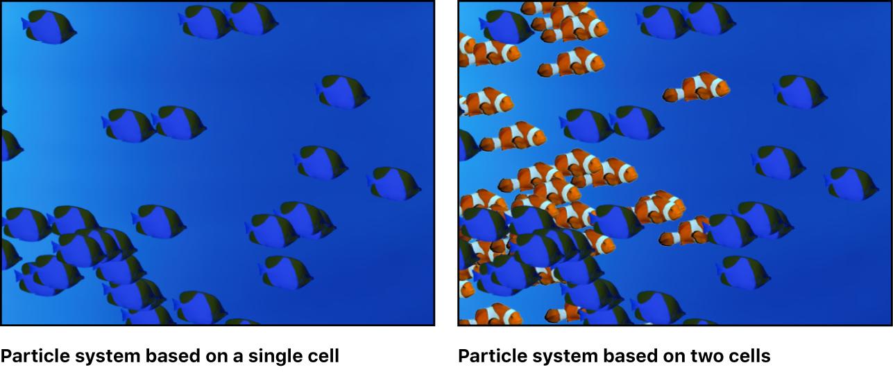 Canvas mit einem Partikelsystem auf Basis einer einzelnen Zelle und auf Basis von zwei Zellen