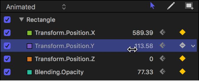 Keyframe-Editor-Einblendung mit dem Werteregler für den Parameter
