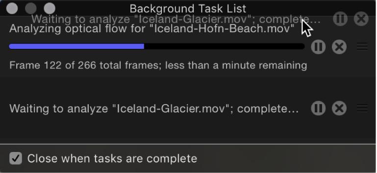 Liste der Hintergrundaktionen, in der die Aufgabenliste neu geordnet wird