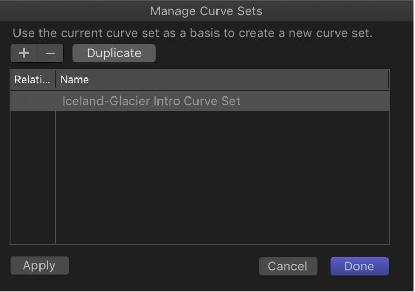 Dialogfenster zum Verwalten von Kurvenreihen