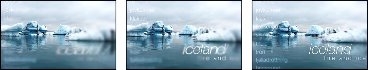 Drei Bilder mit sequenzieller Textanimation vor einem Hintergrund, der im Wasser treibende Quallen zeigt