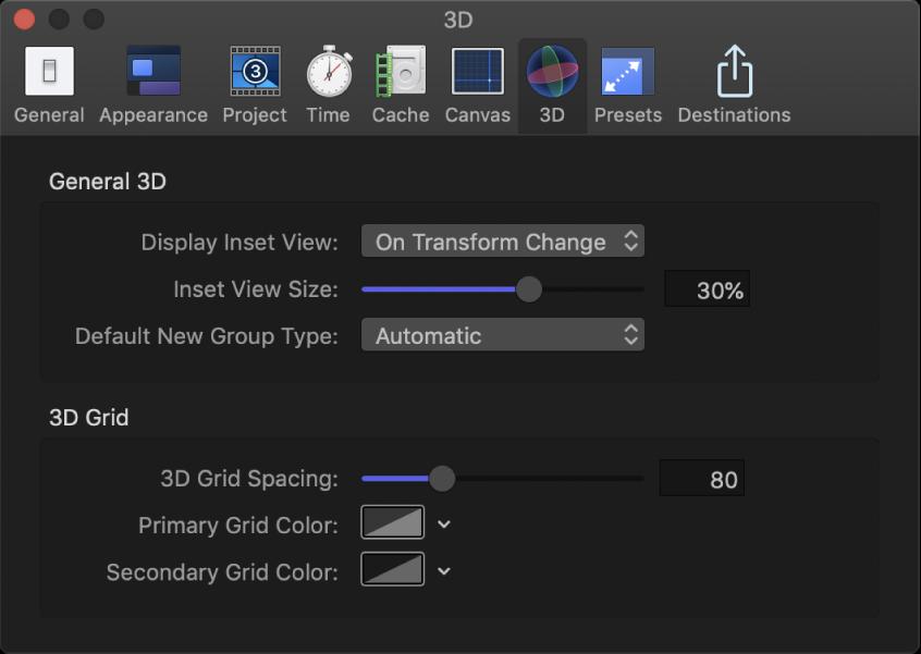 """Fenster mit den Motion-Einstellungen mit eingeblendetem Bereich """"3D"""""""