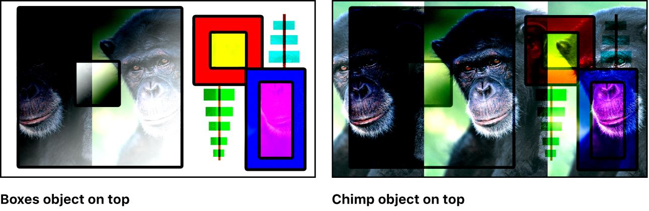 """Canvas mit Kombination aus Farbfeldern und dem Affen unter Verwendung der Füllmethode """"Lineares Licht"""""""