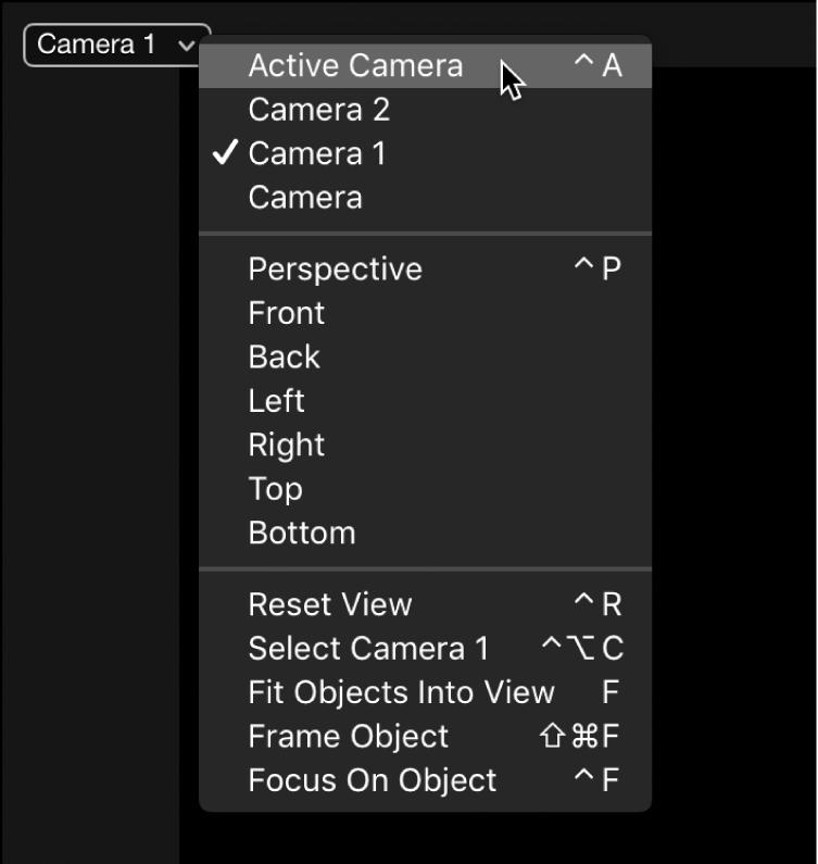 """Auswählen von """"Aktive Kamera"""" aus dem Einblendmenü """"Kamera"""" im Canvas"""