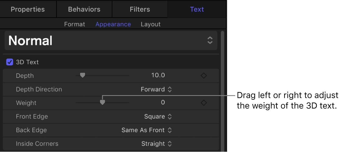 """Bereich """"Erscheinungsbild"""" des Informationsfensters """"Text"""" mit dem Parameter """"Gewicht"""""""
