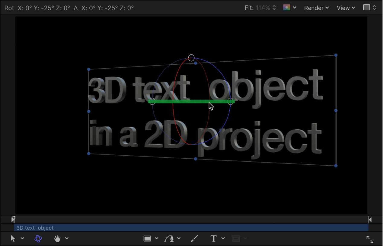 Canvas mit einem Beispiel für gedrehten 3D-Text in einem 3D-Projekt