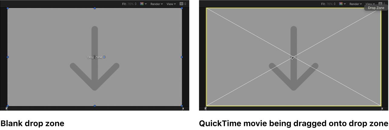 Canvas mit QuickTime Film, der auf eine Drop-Zone bewegt wird