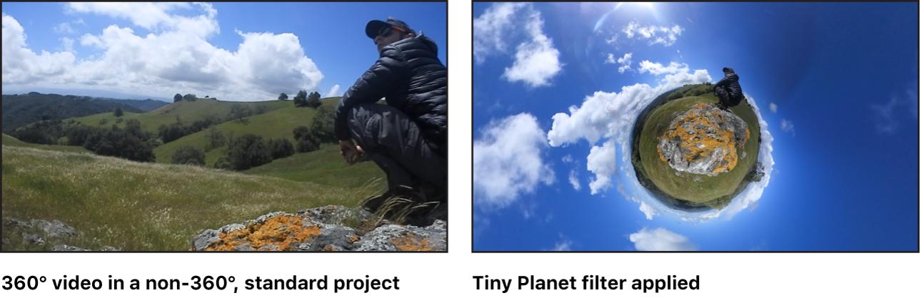 """Der Canvas mit dem Effekt des Filters """"Tiny Planet"""" bei einem 360°-Video"""