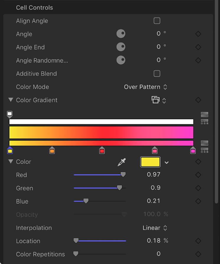 """Informationsfenster """"Replikator"""", in dem für """"Farbmodus"""" die Option """"Über das Muster"""" eingestellt ist"""