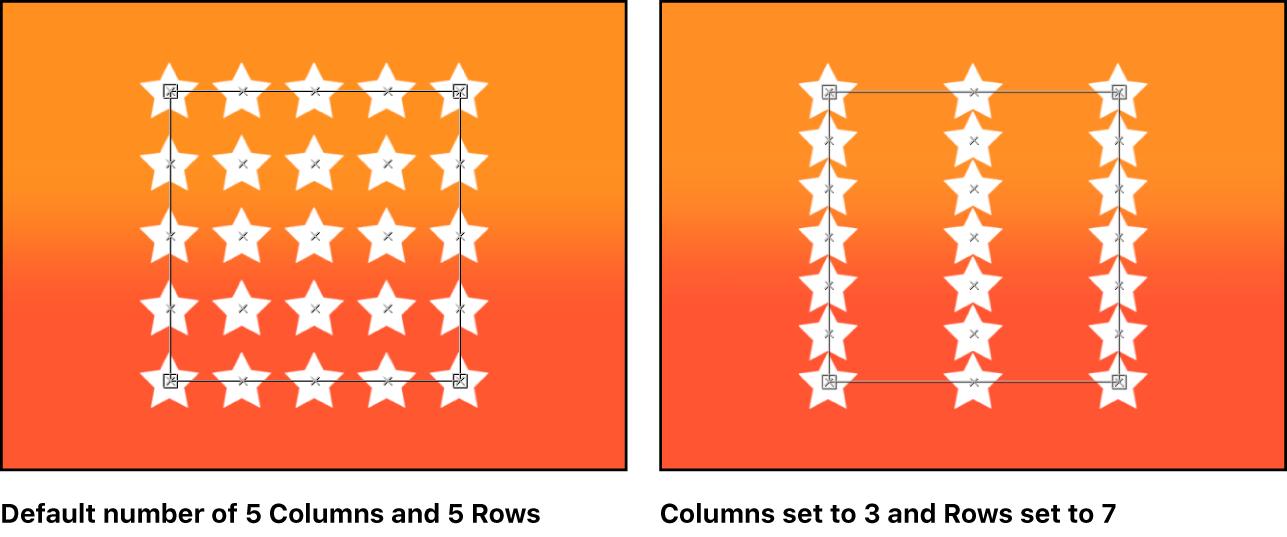 Canvas mit dem Replikator und verschiedener Anzahl von Zeilen und Spalten