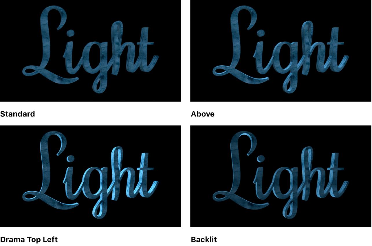 """Canvas mit 3D-Textobjekt mit der Beleuchtungsart """"Standard"""", """"Oben"""", Drama-oben links"""" und """"Hintergrundbeleuchtet"""""""