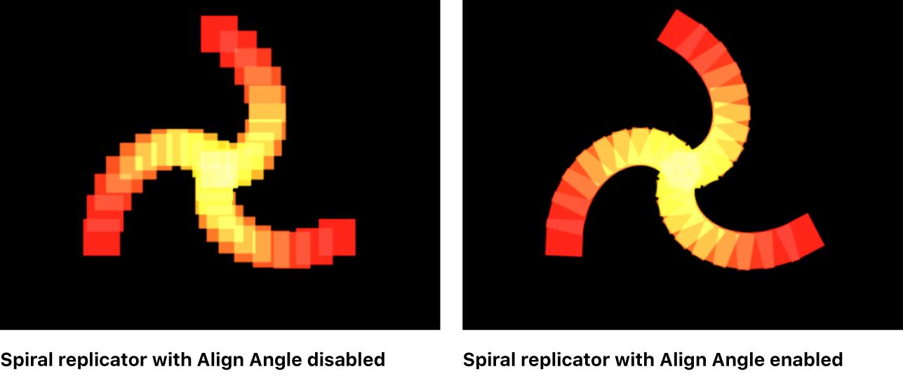 """Vergleich spiralförmiger Replikatoren im Canvas, bei denen die Option """"Winkel ausrichten"""" deaktiviert bzw. aktiviert ist"""