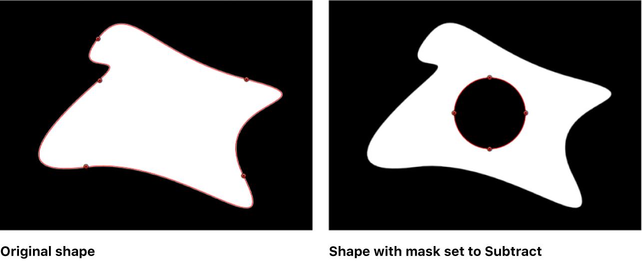 Canvas-Fenster mit einer Form, auf die eine Maske angewendet wurde, die einen Teil ausstanzt