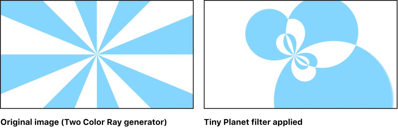 """Der Canvas mit dem Effekt des Filters """"Tiny Planet"""" beim Generator """"Zweifarbiger Strahl"""""""