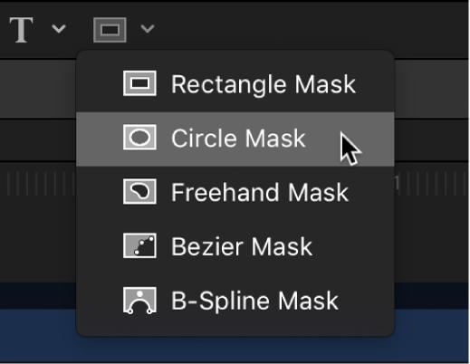 Auswählen des Kreismaske-Werkzeugs aus den Werkzeugen für Maskenformen in der Symbolleiste des Canvas