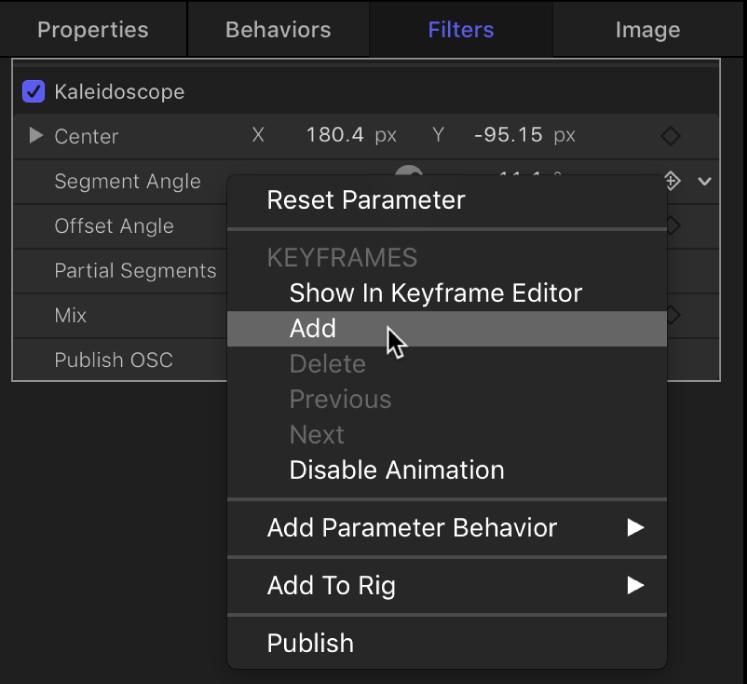 """Auswählen von """"Hinzufügen"""" aus dem Animationsmenü für einen Filterparameter"""