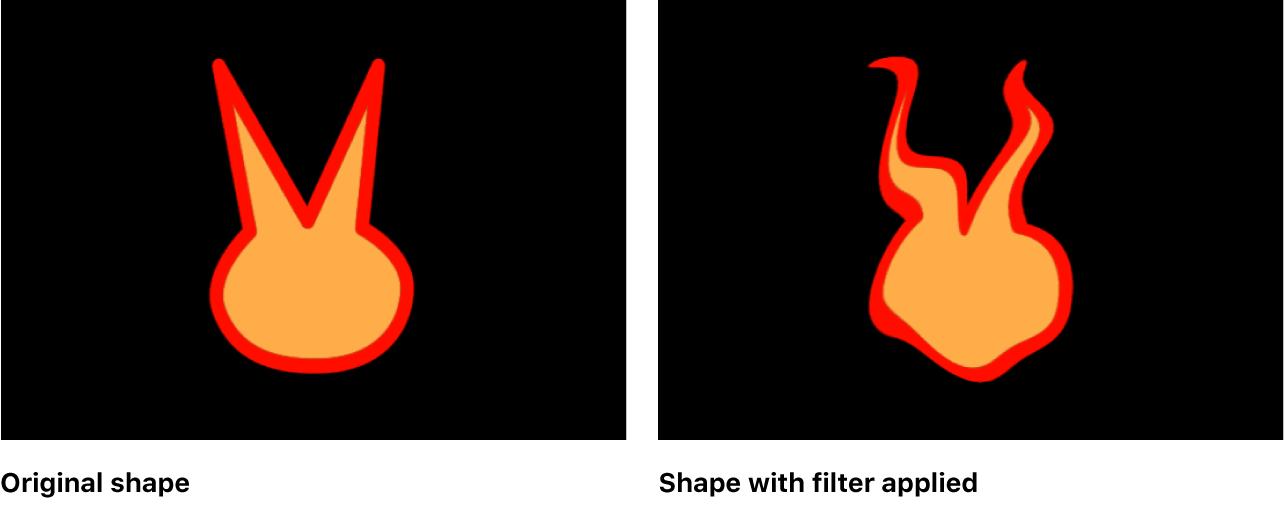Canvas mit einer Form, auf die ein Filter angewendet wurde