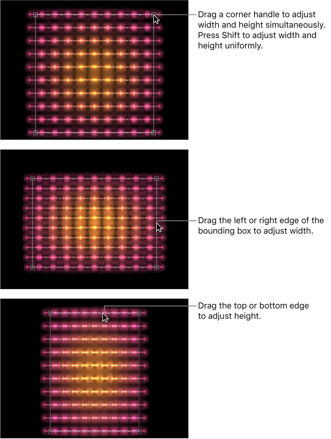 Canvas mit Replikatoren, die mithilfe der Onscreen-Steuerelemente modifiziert werden
