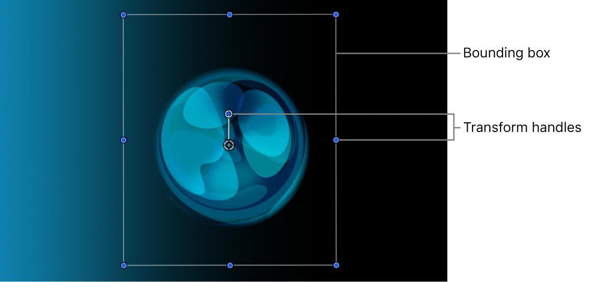 Canvas mit einer Ebene, deren Auswahlrahmen und Transformationsaktivpunkte aktiv sind