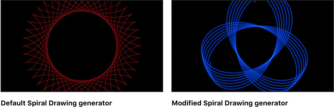 """Canvas mit dem Generator """"Spiralzeichnung"""" und verschiedenen Einstellungen"""