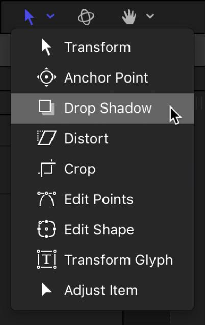 """Werkzeug """"Schattenwurf"""" aus dem Einblendmenü für die Transformationswerkzeuge auswählen"""