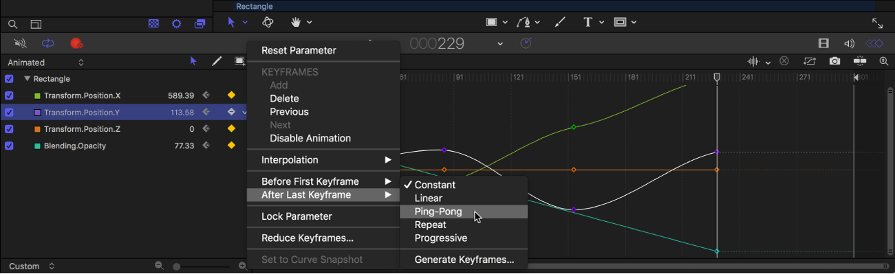 Keyframe Editor showing Before First Keyframe submenu of Animation menu