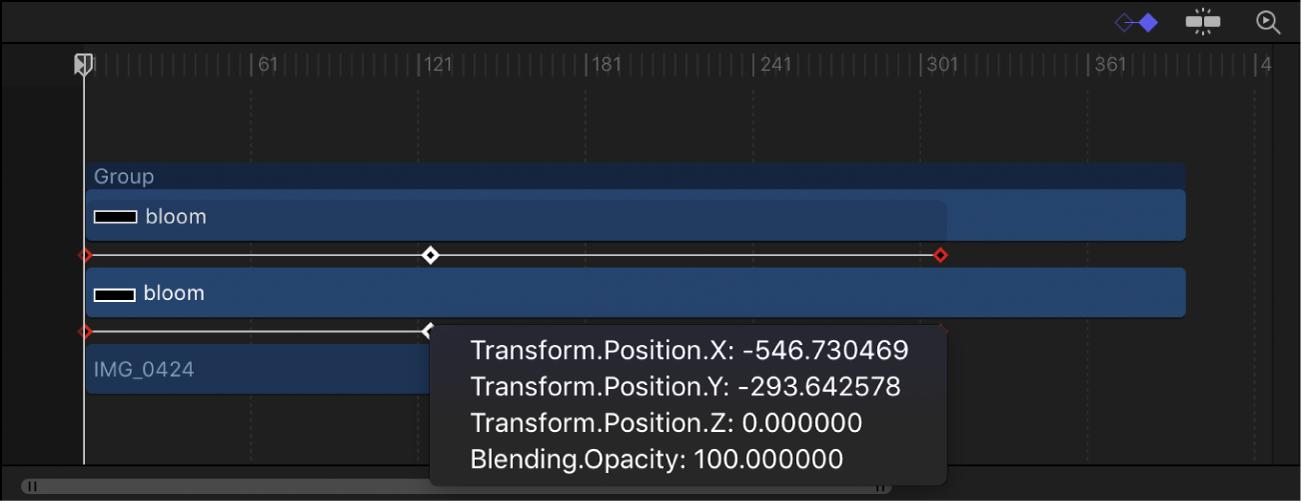 Keyframe shortcut menu displaying keyframed parameters at the current frame