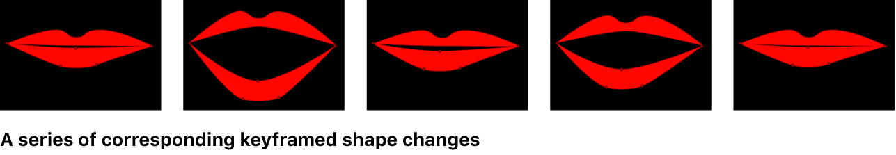 Canvas showing series of corresponding keyframed shape changes
