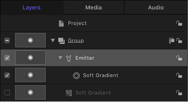 Layers list showing Emitter and disabled reference object