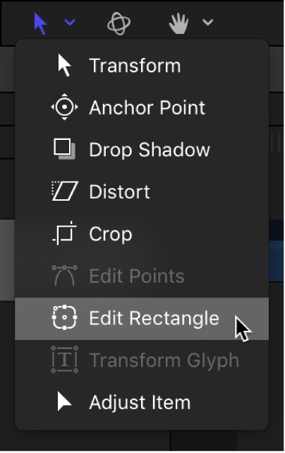 Selecting the Edit Rectangle tool from the transform tools in the canvas toolbar