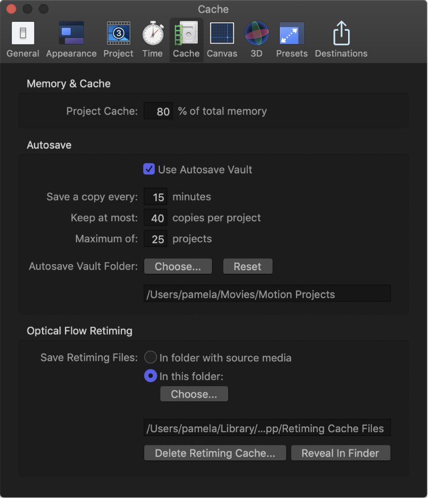 Motion Preferences window showing Cache pane