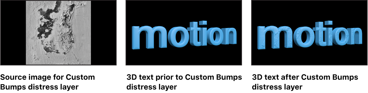 Canvas showing image used as Custom Bumps distress layer, 3D text prior to applying Custom Bumps distress layer, and 3D text after applying Custom Bumps layer