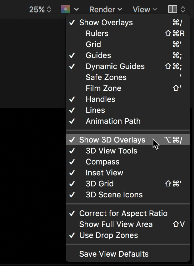 Selecting Show 3D Overlays from the View menu in the canvas