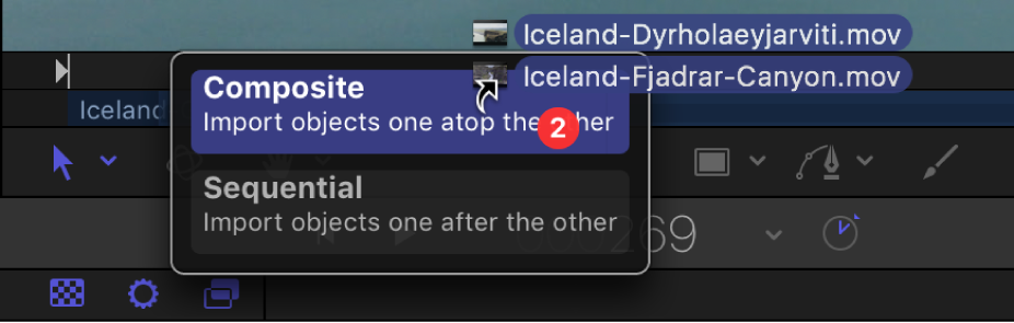 Mini-Timeline showing drop options for multiple object selections.