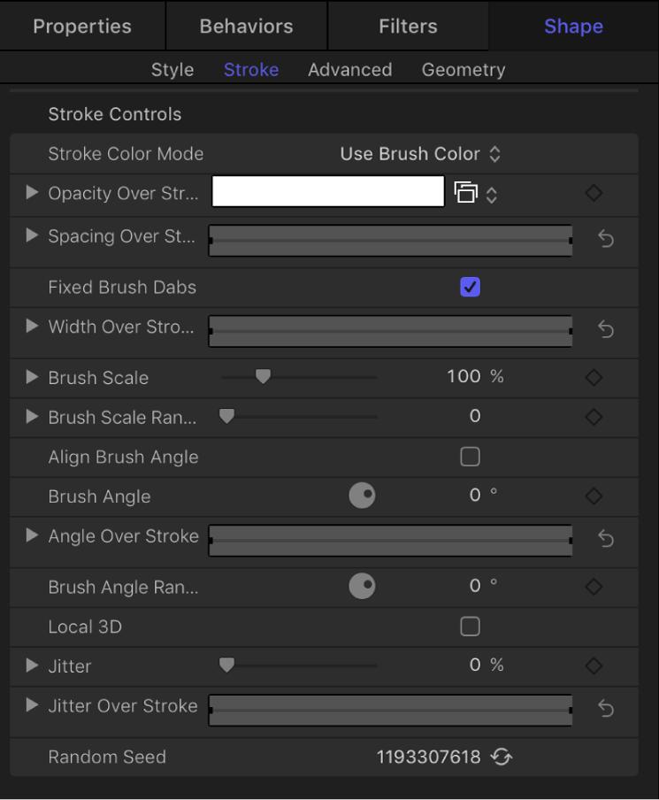 Shape tab showing Stroke pane
