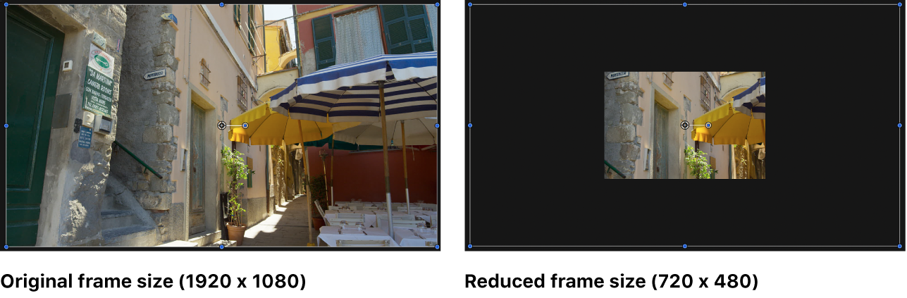 Canvas showing reduced frame size