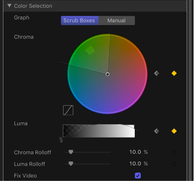 Graph controls within Keyer filter's Advanced controls