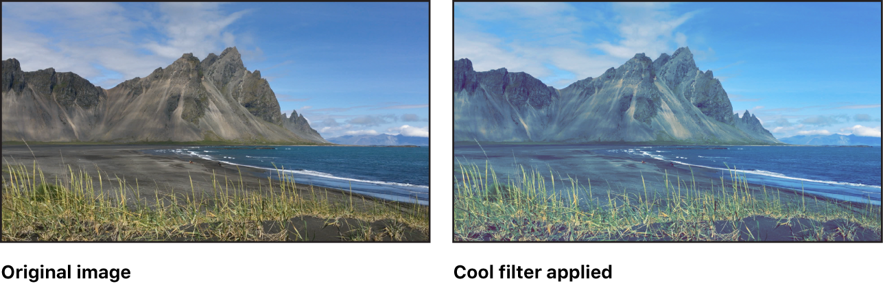 Canvas showing effect of Cool filter